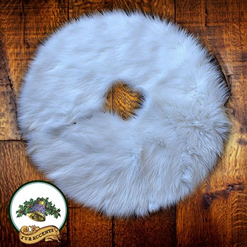 Classic Faux Fur Christmas Tree Skirt - Shaggy Shag Faux Sheepskin Round - White or Off White by Fur Accents - USA (6' Round, White) by Fur Accents (Image #5)