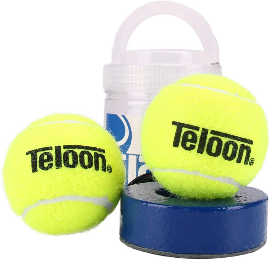 Teloon springen Tennis Trainer Rebound Ball Iron Base Tennis Training Tool,2.35LB Weight Heavy with 2PCS Replaceable String Self-Study Rebound Ball Baseboard Sparring Device : Sports & Outdoors
