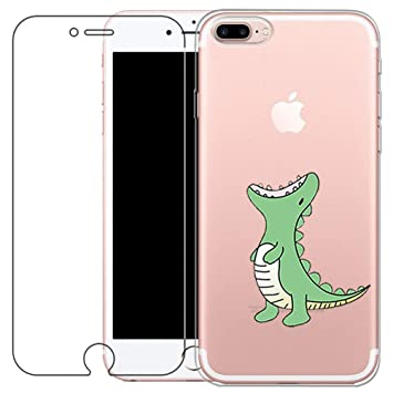 Funda iPhone 7 Plus, iPhone 8Plus Cover [con Protector de Pantalla de Vidrio Temperado] Blossom01 Ultra Fina de Gel de Silicona TPU Carcasa iPhone 7 ...