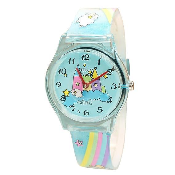Willis - Reloj Analógico para Niños Niñas Aprendizaje Educativo Reloj Deportivo con Correa de Resina de
