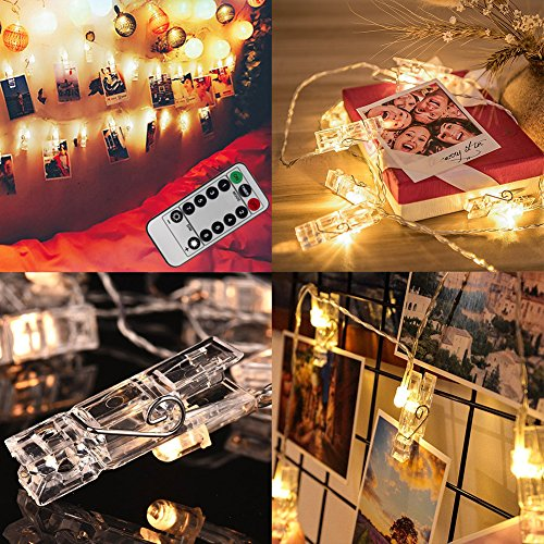 AnSaw Battery Powered Photo Hanging Clips String Lights with Remote, Picture Display Clip Light t for Party,Wedding, Xmas and Wall Décor (40 Clear Clips, Warm White, (Ways To Celebrate Halloween At Home)