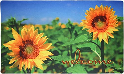 Sunflower Welcome Door Mat Outdoor Indoor Enty Floor Mat Entrance Rug Non Slip Rubber Doormat 29×17 inch