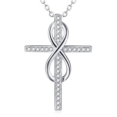 5aa5de08541f 925 plata de ley cubic-zirconia infinito cruz forma colgante collar ...