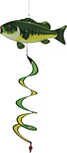 In the Breeze 5121 Bass Fish Theme Twister-Hanging Outdoor Decoration