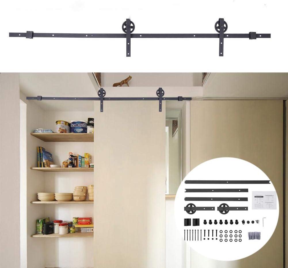 Sistema de puerta corredera, color negro, juego de herrajes para puerta corredera, kit de hardware para armarios, capacidad de carga 150 kg: Amazon.es: Bricolaje y herramientas