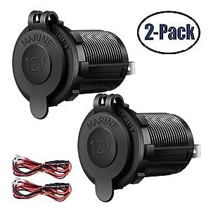 Cigarette Lighter Socket USB Charger Socket adapter Car Power Outlet Socket Receptacle 12V Waterproof Plug 2 Pack By ZHSMS