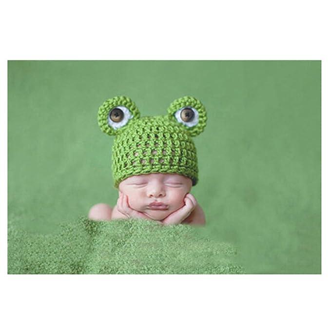 Jelinda Bebé recién nacido de la rana linda Crochet Gorro de lana ...