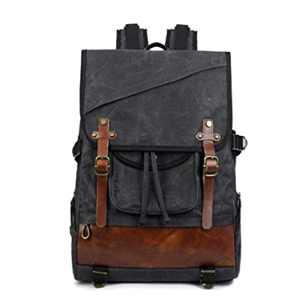 KIMSAI Men s Outdoor Waterproof Canvas Backpack Large Capacity European And  American Retro Travel Backpack 3c407bbd07327