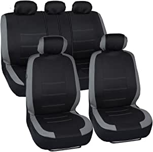 BDK Venice Series Car Seat Covers for Auto - Gray Stripes on Flat Black Cloth - Split Bench Function, Original Cover Protection