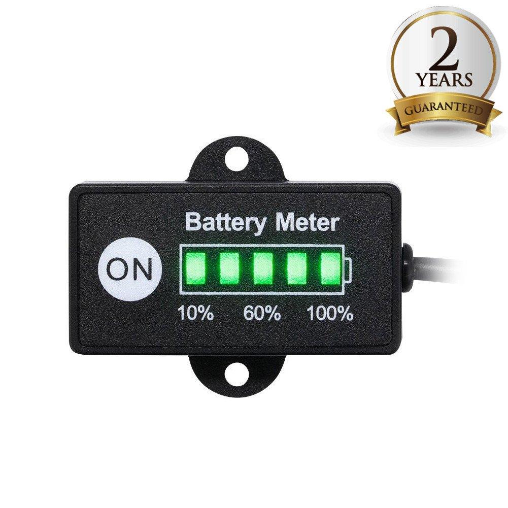 BUNKER INDUST Mini 12V 24V LED Battery Indicator Gauge Meter, Universal Lead-acid Battery Tester for Motorcycle Golf Carts Car Marine ATV