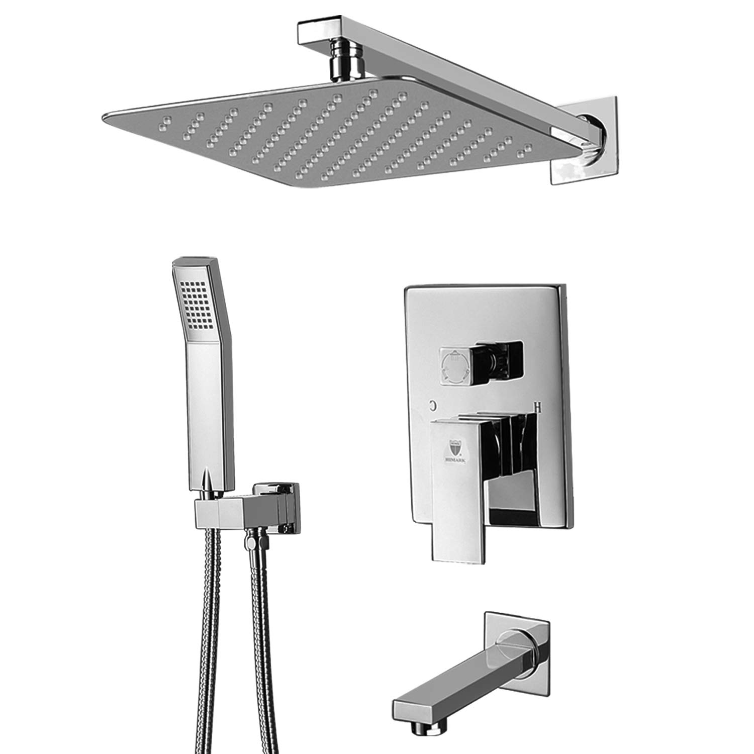 Shower System,Shower Faucet Set With Tub Spout For Bathroom And 10 Inch  Square Rain Shower Head Wall Mounted Shower Set (Contain Shower Faucet  Rough In ...
