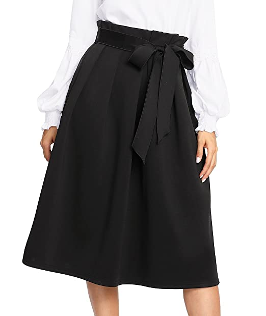 90cb00a2e SheIn Women's High Waist Knee Length Plain Pleated Belted Skirt Black  X-Small