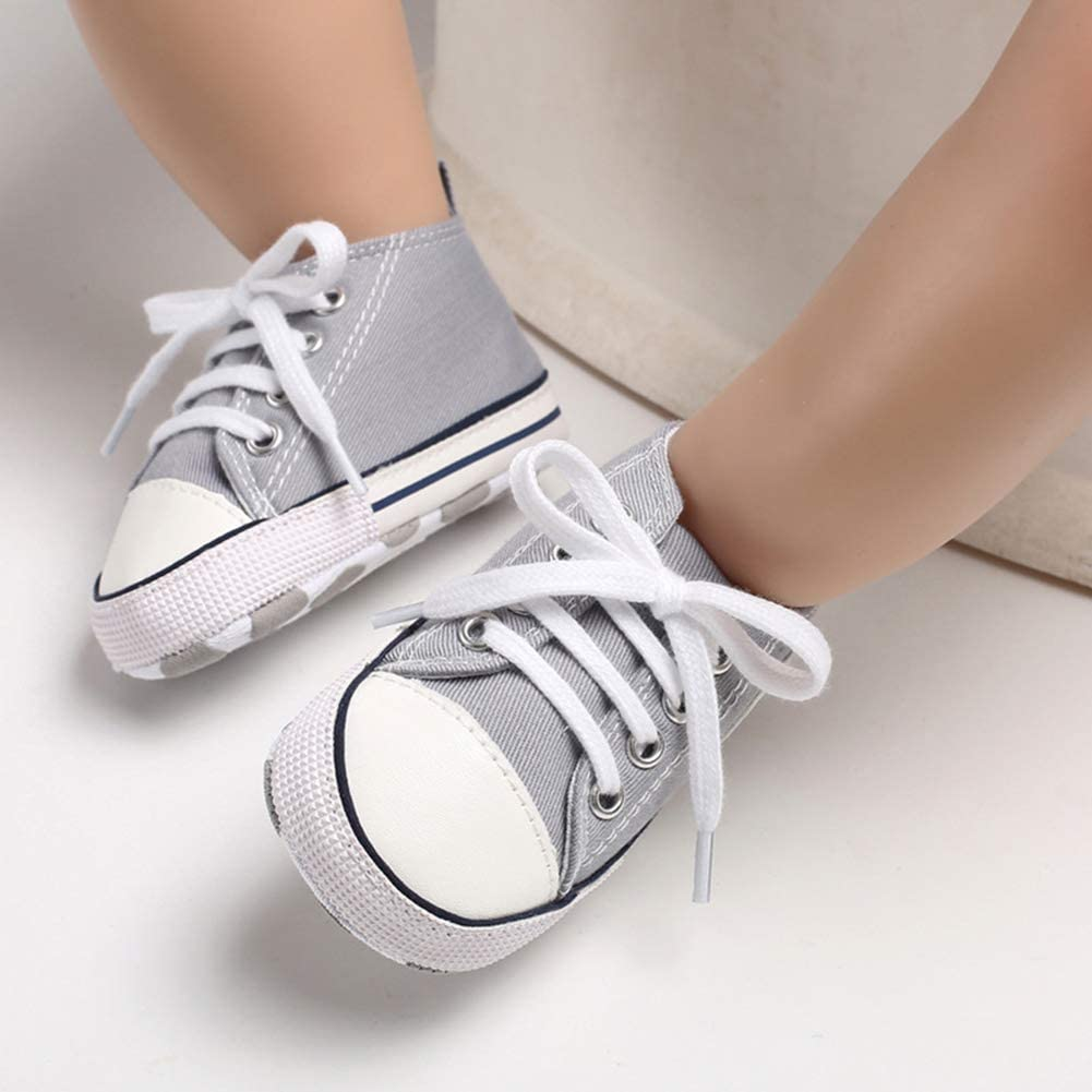 Babycute Scarpe da Ginnastica morbide per Neonati perfette Come Prime Scarpe per Camminare Stile Casual Sportivo in Tela con Suole morbide