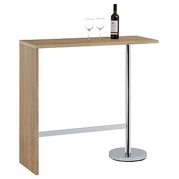 Idimex Table Haute De Bar Ricardo Mange Debout Comptoir Piètement Métal Chromé Bois Mdf Décor Chêne Sonoma