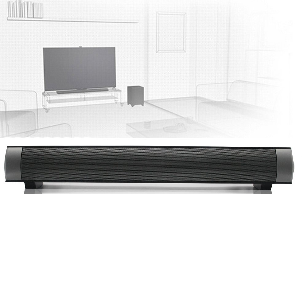 ELlight Bluetooth Small Sound Bar 2.0 Channel 15.7in 10W(2X5W) Wireless Stereo Speaker,Black