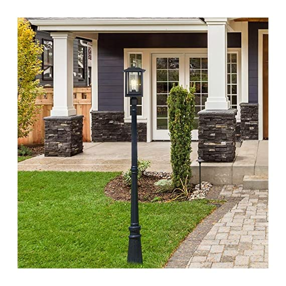 Beionxii Outdoor Post Light Fixture, Set of 2 Large Exterior Post Lantern with 3-Inch Pier Mount Base, Sand Textured… - ✅ INDUSTRIAL STYLE WITH MODERN APPEAL: Mix of modern and industrial elements, This outdoor pole lamp features an open metal outer cage which enhances its line silhouette. The perfect addition to your exterior ensemble with this pole lantern light. ✅ TWO MOUNTING WAYS: Includes pier mount base is available for both Post Mount and Pier Mount. This outdoor pier mount light is completely weather-resistant for any outdoor environment, perfect for garden, backyard, courtyard, patio, balcony, porch, pathway or entryway. ✅ BULB REQUIREMENTS: This outdoor pillar light is fully compatible with E26 Base LED, Incandescent, CFL Bulbs (60w Max, Bulb NOT included). Recommend using LED Vintage Style Bulb. - patio, outdoor-lights, outdoor-decor - 61Xyfrk9kNL. SS570  -