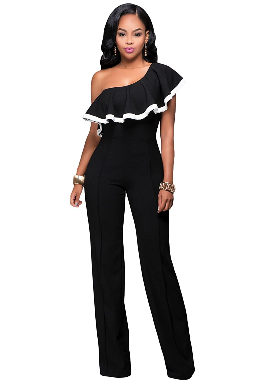 Black Flounce Trim One Shoulder Jumpsuit