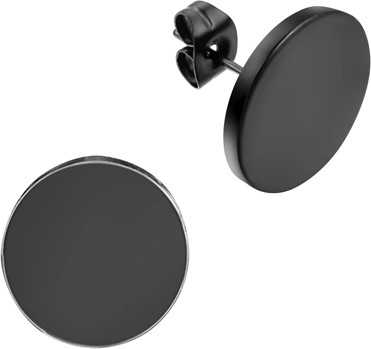 Flongo Men's Women's 14mm Round Stainless Steel Black Tunnel illusion Tapers Cheater Faux Fake Stud Earrings