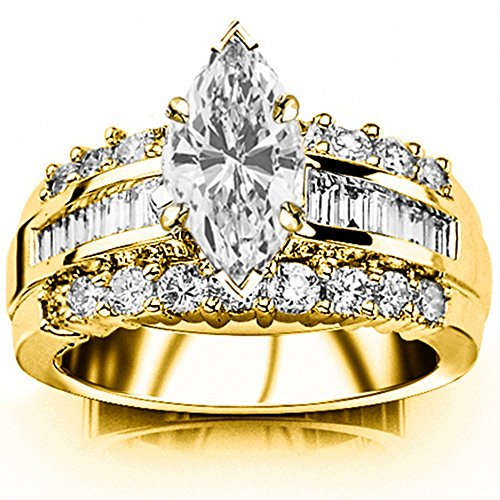 1.6 Carat t.w. GIA Certified Marquise Cut 14K Yellow Gold Channel Set Baguette and Round Diamond Engagement Ring (G-H Color VS1-VS2 Clarity Center Stones) (Marquise Vs2 Ring)