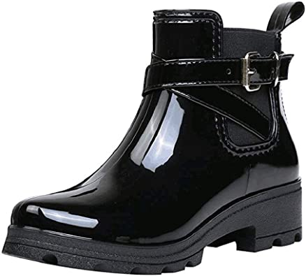 Womens Rain Boots Wedges Short Tube Waterproof Wellington Wellies Boots Non-Slip Water Shoes