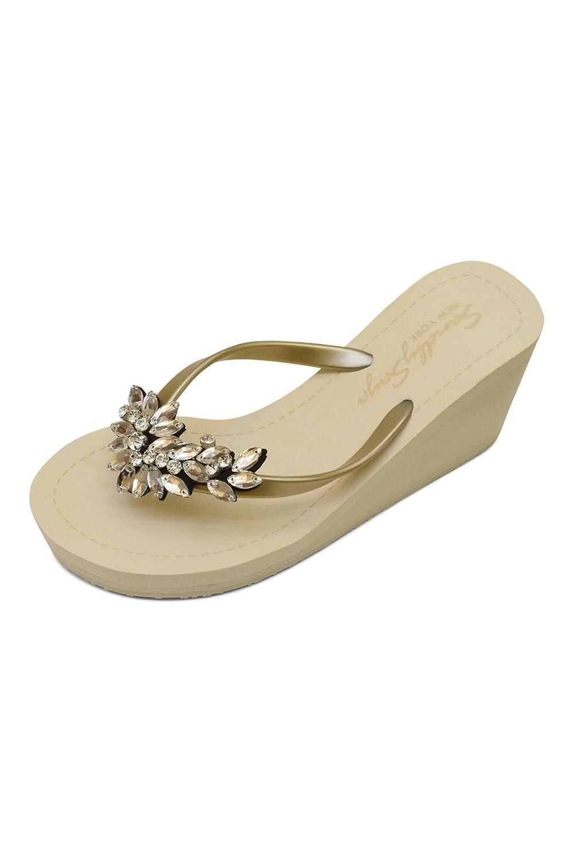 Sand by Saya Crystal Manhattan Comfortable Rubber Sandals with Thong Stripe – High Heels B06XVYDD7X 5 XS|Gold