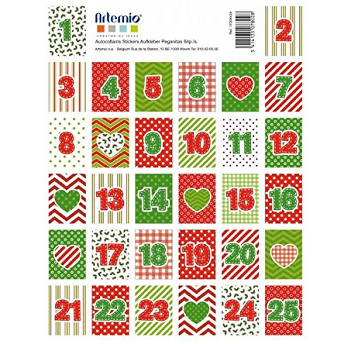64 Stamps stickers for Advent Calendar - Elves Youdoit