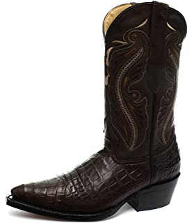 Grinders Women Dallas Black Real Leather Boot Cowboy Western Mid Calf Toe Boots