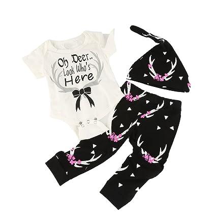 sukisuki ropa de bebé conjunto, letras impreso Toddler Bebé Niños Niñas Pelele Jumpsuits playsuits White&Black