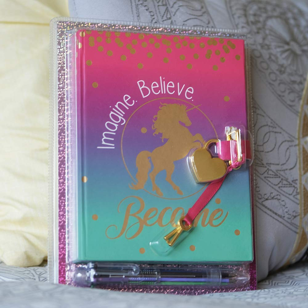 Diary with Lock for Girls - Unicorn Journal with Upgraded Lock and Keys, Notebook Pages for Secret Writing , Blank Pages for Drawing, Bracelet, Multicolor Pen and Bookmark Included by Life is a Doodle