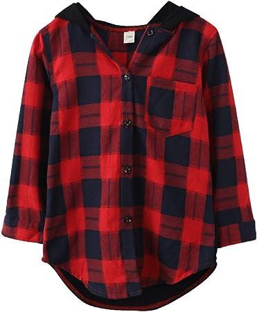 LEEFTM Camisas para Niñas Otoño Otoño Nuevos Grandes Y Grandes Niños Sueltos Camisa A Cuadros De Manga Larga para Niñas,Red-10-13Years(160): Amazon.es: Hogar