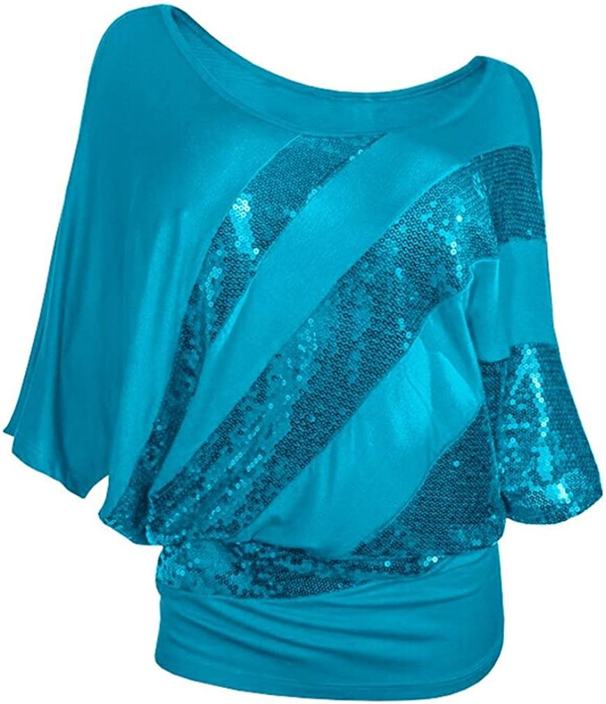 1980s Clothing, Fashion | 80s Style Clothes 2019 Summer Women Sequin Top Causel T-Shirt Cold Shoulder Blouse Plus Size $8.99 AT vintagedancer.com