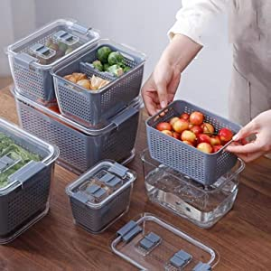 Fresh-keeping Container, 3-in-1 Multifunctional Draining Crisper with Strainers, Vegetables and fruits Storage Containers with Vents, 3 packs for various sizes of food storage