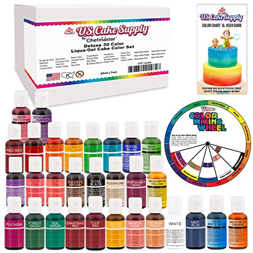 30 Color Cake Food Coloring Liqua-Gel Decorating Baking Ultimate Set - Primary, Secondary and Neon Colors - U.S. Cake Supply 0.75 fl. oz. (20ml) Bottles (Bright Yellow Tulip)