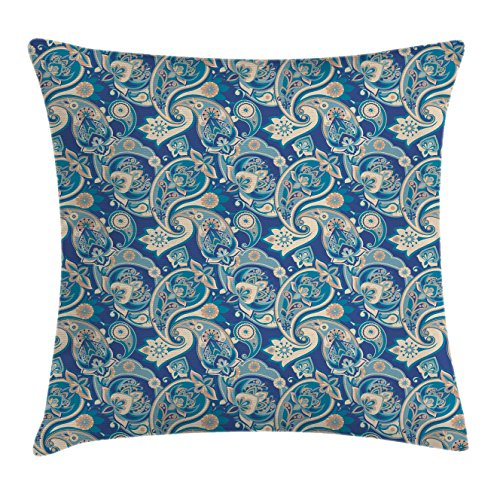 Ambesonne Paisley Throw Pillow Cushion Cover, Authentic Asian Inspired Floral Persian Fashion Boho Art Illustration Print, Decorative Square Accent Pillow Case, 16 X 16 Inches, Teal Navy and (Asian Inspired Furniture)