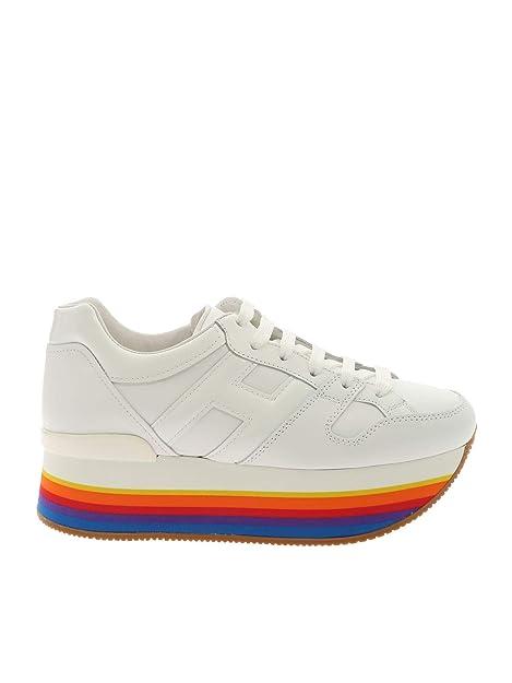Hogan Mujer HXW4210T548I6SB001 Blanco Cuero Zapatillas: Amazon.es: Zapatos y complementos
