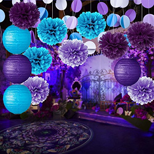 Party decoration kit purple blue tissue paper pom poms for 21st birthday decoration packages