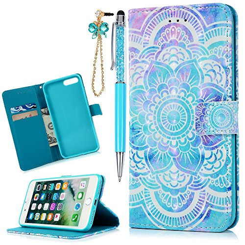 MOLLYCOOCLE iPhone 7 Plus, iPhone 8 Plus Case,3D Relief Bling Glitter Pattern Wallet Case PU Leather Soft TPU Inner Bumper Protective Case Cover for iPhone 7 Plus, iPhone 8 Plus, Blue Totem Flower