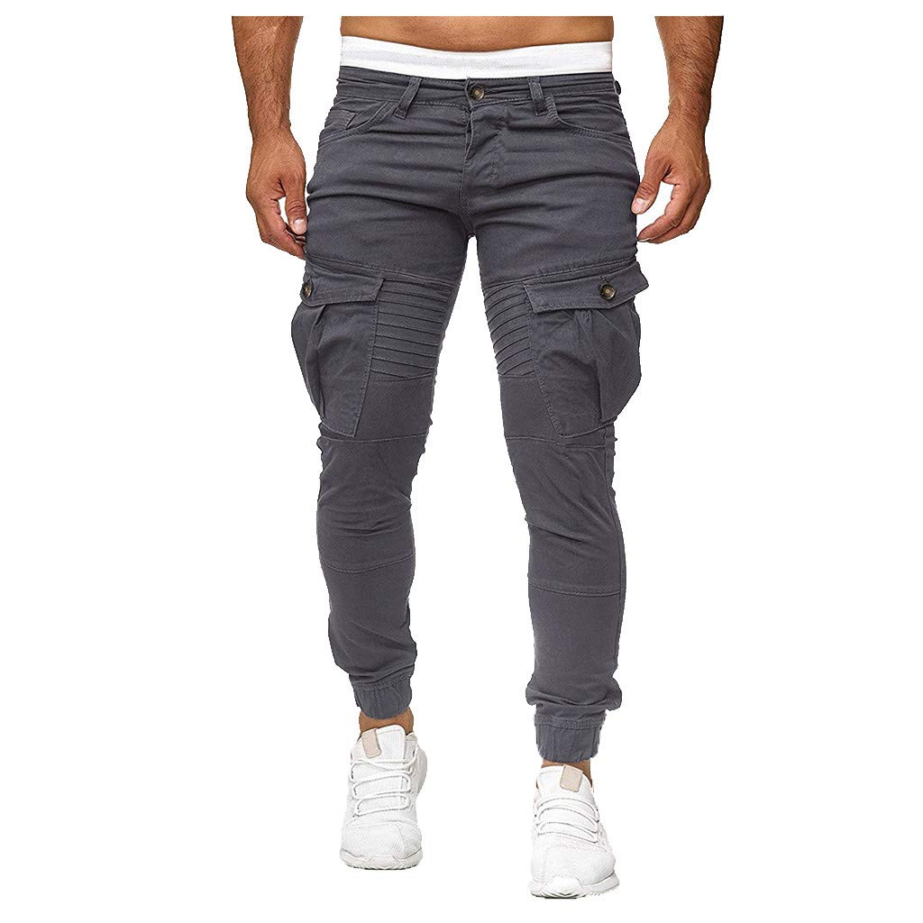 Mens Gym Fitness Workout Pants Bodybuilding Tapered Athletic Running Joggers Pants with Cargo Pockets (Gray, S) by Vicbovo Clearance