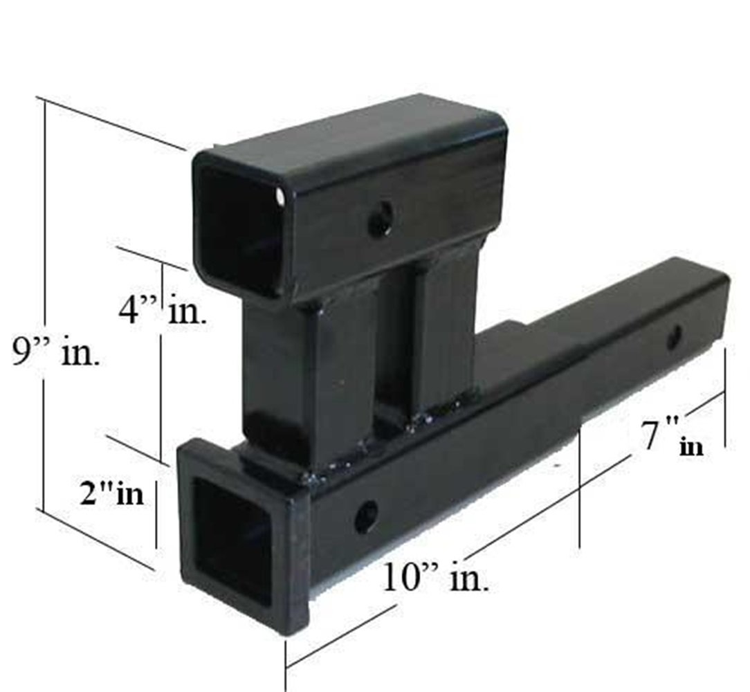 TKT-11 Dual Hitch 2'' Receiver Extension Adapter Trailer Tow 4000 LB