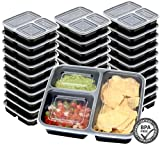 30 Value Pack - SimpleHouseware 3 Compartment Reusable Meal Prep Food Storage Container Lunch Boxes, Stackable and Dishwasher, Microwave, Freezer Safe (36 ounces)