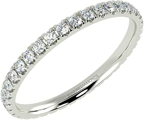 925 Sterling Silver Half Micro Pave Setting Eternity Ring