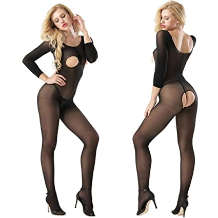 5197a836c1 Women Fishnet Floral Lace Bodystocking Open Crotch Sexy Lingerie Bodysuit  One Size (Free Size