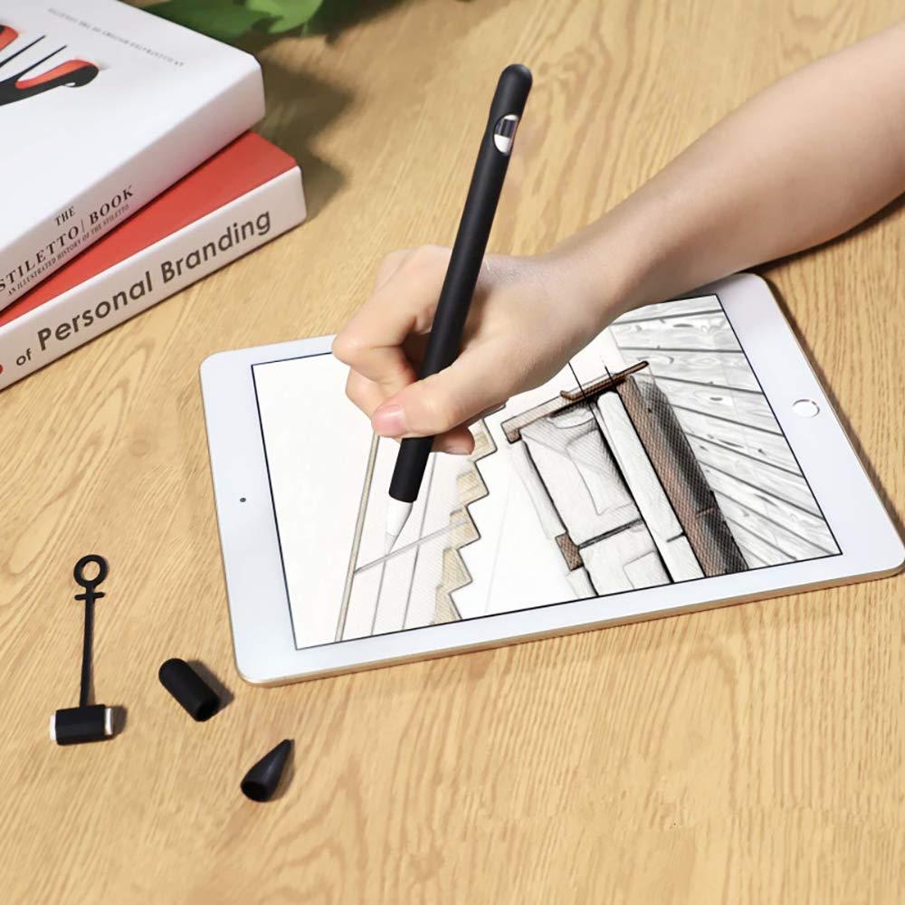 Juego de 4 en 1 funda protectora para Apple Pencil GTWCK soporte de silicona suave para tapa de l/ápiz Apple adaptador de cable cubierta de punta soporte para Apple Pencil de 1/ª generaci/ón