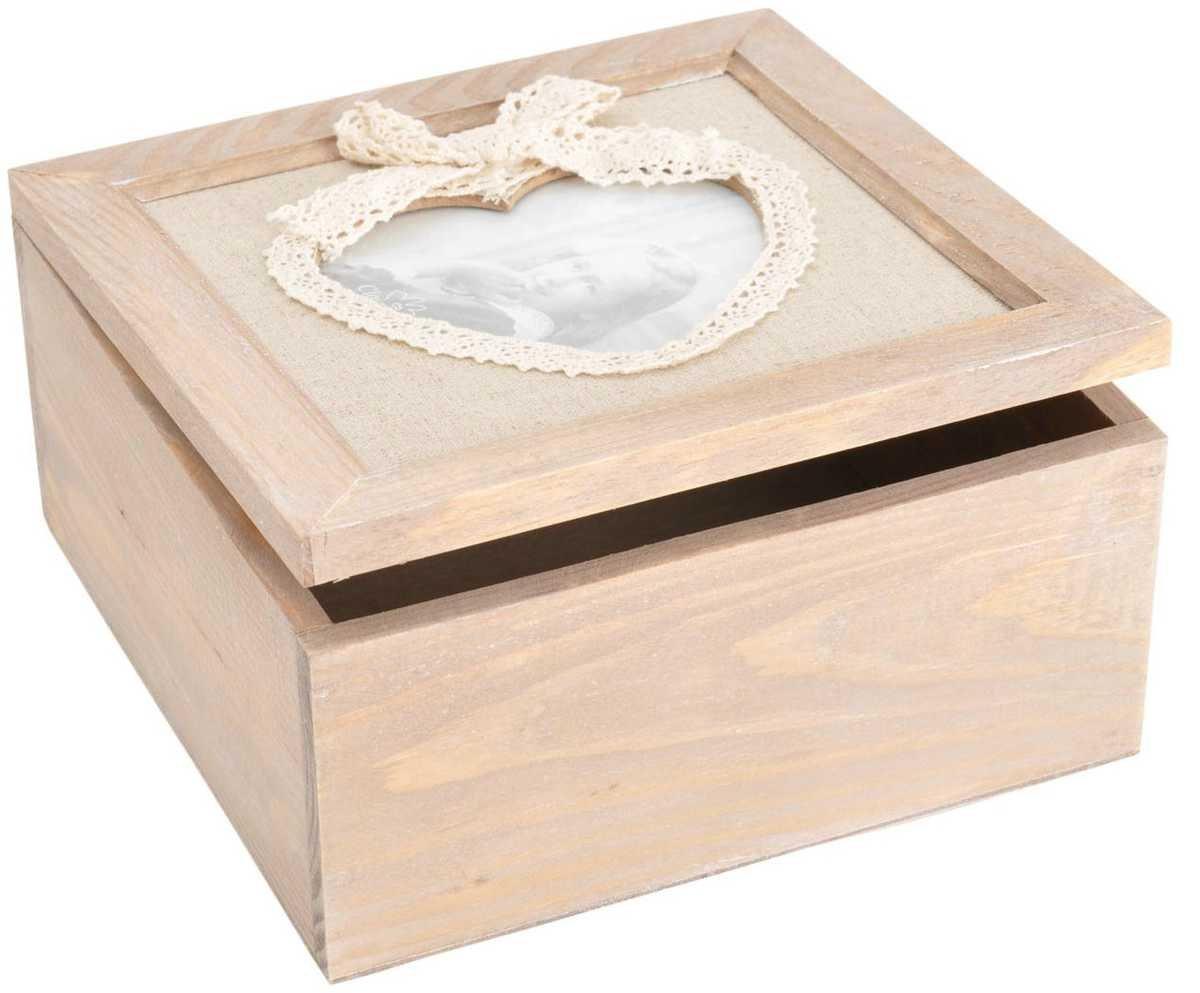 Holzdose Holzbox Dose Box mit Bilderrahmen im Deckel Holz natur und ...