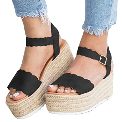 5cfc965c212 Ermonn Womens Flatform Espadrilles Buckle Ankle Strap Open Toe Platform  Sandals Walking Shoes Black