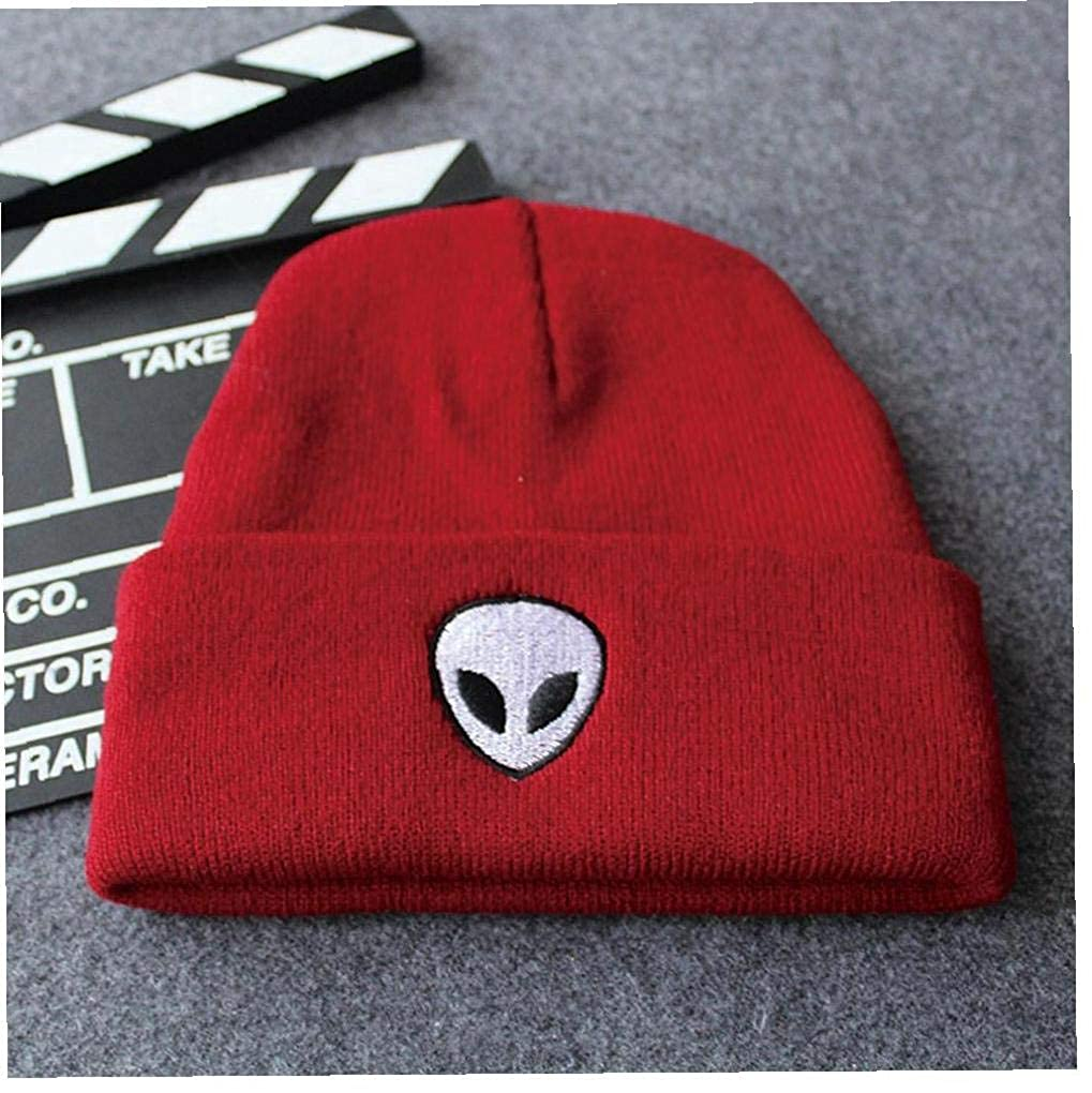 Alien Embroidered Knitting Hat Winter Cotton Warm Cap Hip Hop Knitting Hat for Women and Men