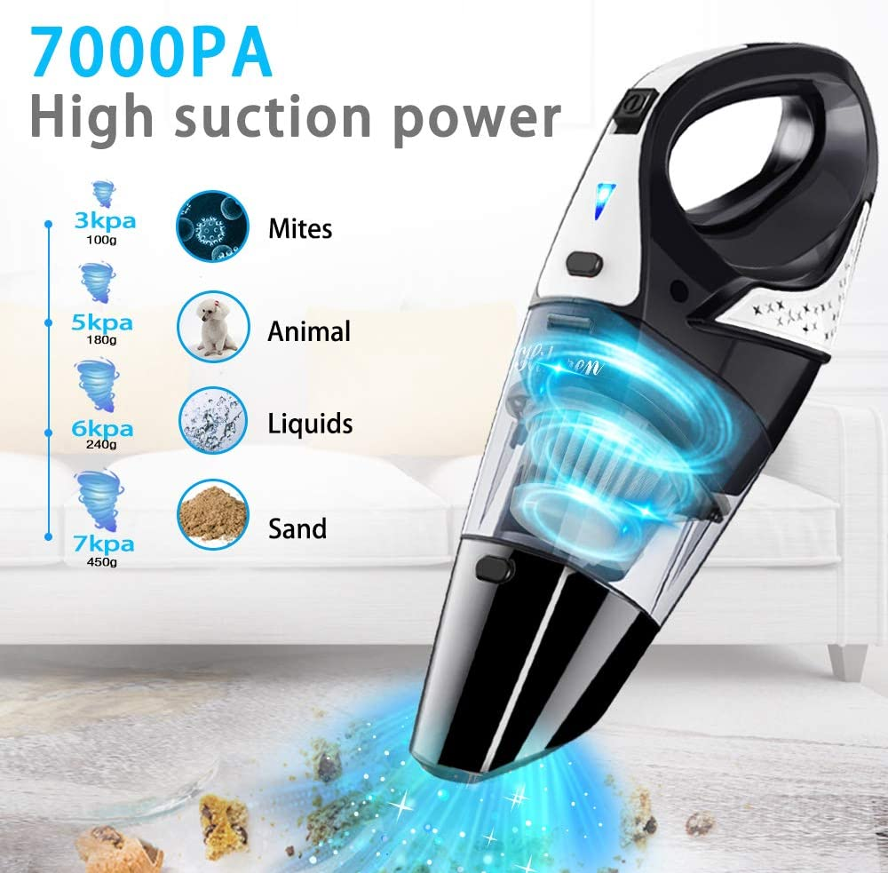 Handheld Vacuum, Hikeren 7Kpa Powerful Suction Wet & Dry Vacuum Cleaner, Handheld Vacuum Cordless with Quick Tech, Rechargeable Portable Handheld Vac with Stainless Steel HEPA Filter, Black -