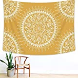 Arfbear Bohemian Tapestry, Mandala Hippie Popular Wall Hanging Tapestry Warm Golden Yellow Beach Blanket (medium-59 x 51 in)