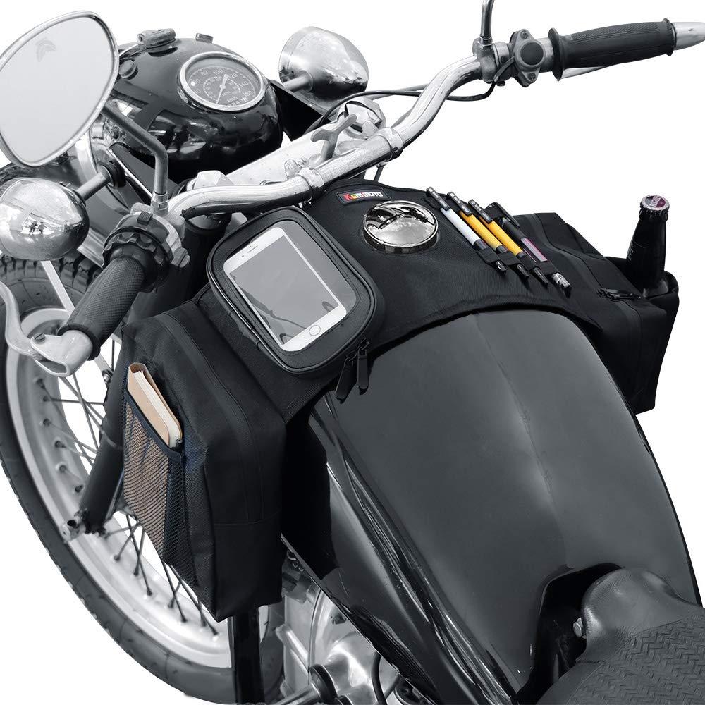 KEMIMOTO ATV Motorcycle Tank Bag with Phone Pouch for Honda Kawasaki Suzuki Snowmobile Saddle Bags Storage