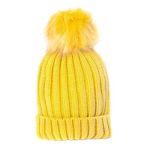 Accessoryo –  Berretto in maglia  – Basic – Donna Giallo Yellow Taglia unica